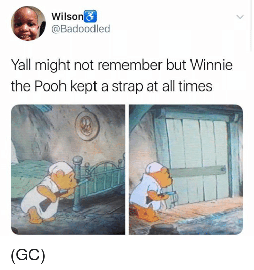 Memes, Winnie the Pooh, and 🤖: Wilson  @Badoodled  Yall might not remember but Winnie  the Pooh kept a strap at all times (GC)
