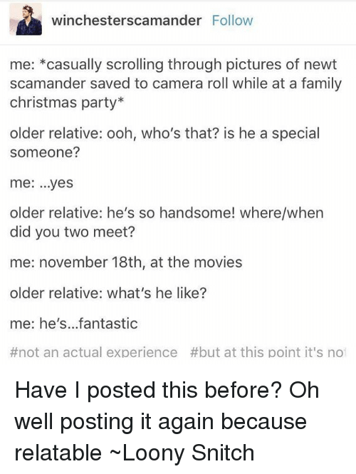 Memes, Snitch, and Camera: winchester scamander Follow  me  casually scrolling through pictures of newt  scamander saved to camera roll while at a family  christmas party  older relative: ooh, who's that? is he a special  someone?  me: ...yes  older relative: he's so handsome! where/when  did you two meet?  me: november 18th, at the movies  older relative: what's he like?  me: he's...fantastic  #not an actual experience #but at this point it's not Have I posted this before? Oh well posting it again because relatable ~Loony Snitch