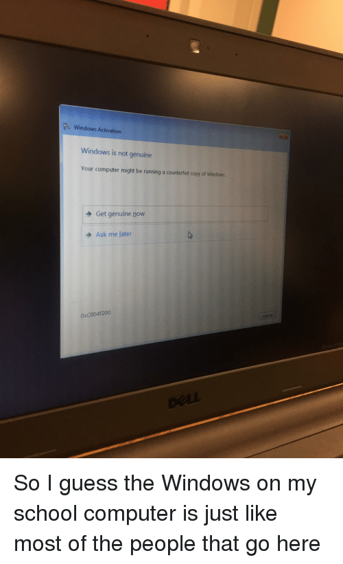 Windows Activation Windows Is Not Genuine Your Computer Might Be Running a Counterfeit Copy of ...