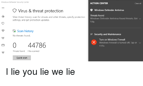 Windows Defender Security Center ACTION CENTER Clear All