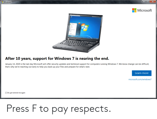 Windows Microsoft After 10 Years Support for Windows 7 Is