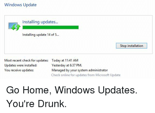 stop a windows update from installing