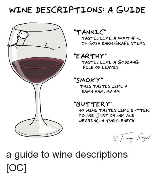 """Drunk, Wine, and Comics: WINE DESCRIPTIONS: A GULDE  """"TANNLC""""  TASTES LLKE A MOUTHFUL  OF GoSH DARN GRAPE STEMS  I0  """"EARTHY""""  TASTES LIKE A GODDANG  PILE OF LEAVES  """"SMOKY""""  THLS TASTES LLKE A  DAMN HAM, MA'ANM  """"BUTTERY""""  NO WINE TASTES LIKE BUTTER.  YOURE JUST DRUNK AND  WEARING A TURTLENECK  eqe"""