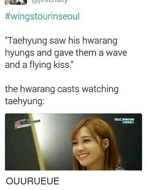 """Saw, Kiss, and Wings:  #wings tourinseoul  """"Taehyung saw his hwarang  hyungs and gave them a wave  and a flying kiss  the hwarang casts watching  taehyung: OUURUEUE"""