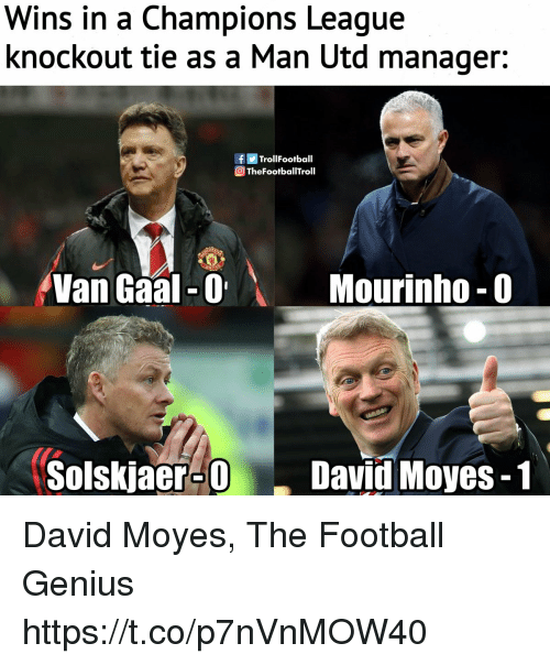 Football, Memes, and Champions League: Wins in a Champions League  knockout tie as a Man Utd manager:  fTrollFootball  TheFootballTroll  Van Gaal 0  Mourinho-0  Solskjaer-ODavid Moyes-1 David Moyes, The Football Genius https://t.co/p7nVnMOW40