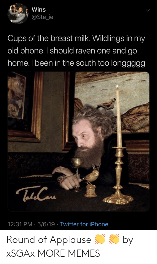 Dank, Iphone, and Memes: Wins  @Ste_ie  Cups of the breast milk. Wildlings in my  old phone. I should raven one and go  home. I been in the south too longgggg  etdCa  12:31 PM- 5/6/19 Twitter for iPhone Round of Applause 👏 👏 by xSGAx MORE MEMES