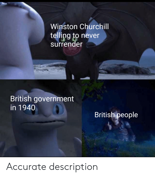 History, British, and Government: Winston Churchll  telling to never  surrender  British government  in 1940  British people Accurate description