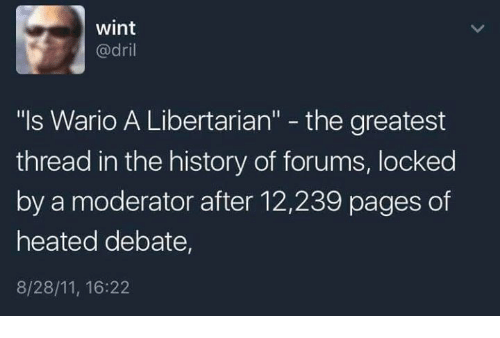 """Video Games, Wario, and History: wint  @dril  """"ls Wario A Libertarian"""" - the greatest  thread in the history of forums, locked  by a moderator after 12,239 pages of  heated debate,  8/28/11, 16:22"""