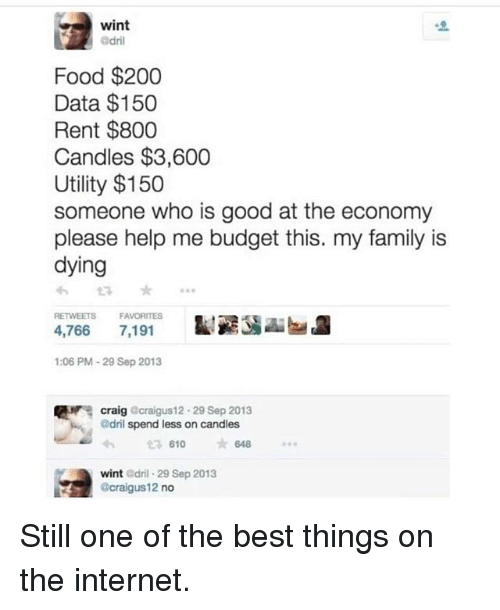 Bailey Jay, Family, and Food: wint  Food $200  Data $150  Rent $800  Candles $3,600  Utility $150  someone who is good at the economy  please help me budget this. my family is  dying  RETWEETS  FAVORITES  4,766 7,191  :06 PM-29 Sep 2013  craig Gcraigus12. 29 Sep 2013  @dril spend less on candles  £7610  *648  wint Odril 29 Sep 2013  @craigus12 no Still one of the best things on the internet.