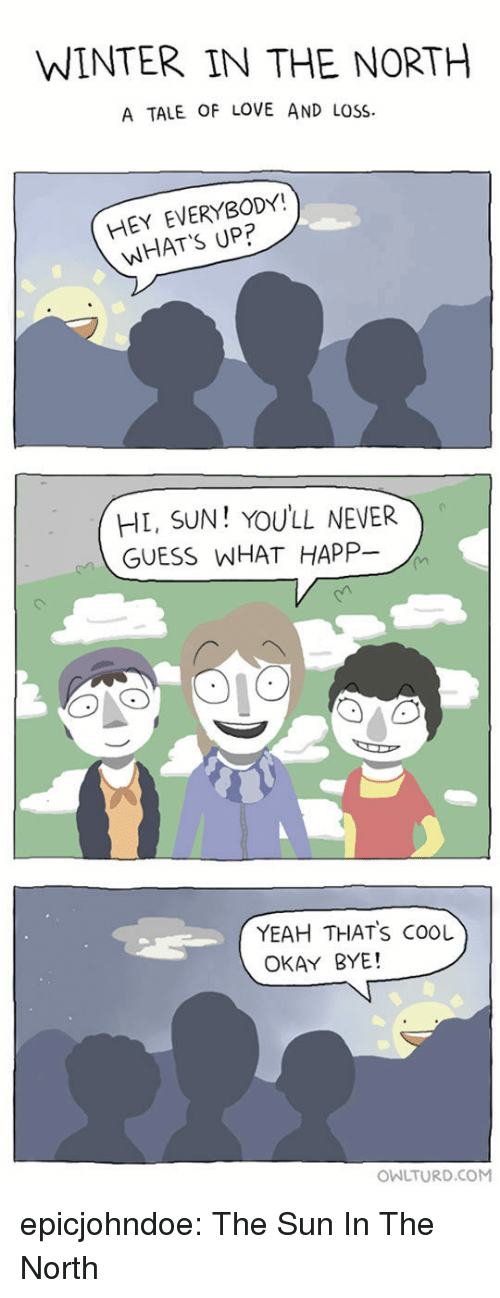 Love, Tumblr, and Winter: WINTER IN THE NORTH  A TALE OF LOVE AND LOSS  HEY EVERYBODY!  WHAT'S UP?  HL, SUN! YOULL NEVER  GUESS WHAT HAPP-  YEAH THATS COOL  OKAY BYE!  OWLTURD.COM epicjohndoe:  The Sun In The North