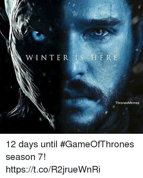 Memes, Winter, and 🤖: WINTER IS H ER  ThronesMemes 12 days until #GameOfThrones season 7! https://t.co/R2jrueWnRi
