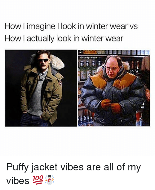 Memes, Winter, and 🤖: winter wear vs  Howl imagine I look in  How I actually look in winter wear  @comfysweaters Puffy jacket vibes are all of my vibes 💯☃️