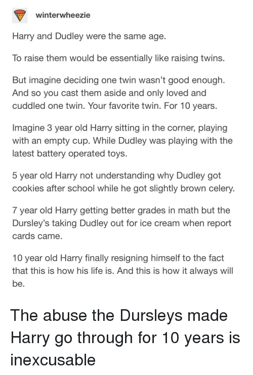Winterwheezie Harry and Dudley Were the Same Age to Raise