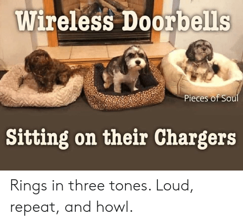 Chargers, Soul, and Three: Wireless Doorbells  Pieces of Soul  Sitting on their Chargers Rings in three tones. Loud, repeat, and howl.