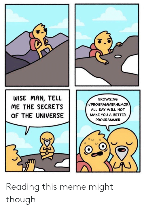 Meme, Universe, and Secrets: WISE MAN, TELL  BROWSING  r/PROGRAMMERHUMOR  ME THE SECRETS  ALL DAY WILL NOT  OF THE UNIVERSE  MAKE YOU A BETTER  PROGRAMMER Reading this meme might though