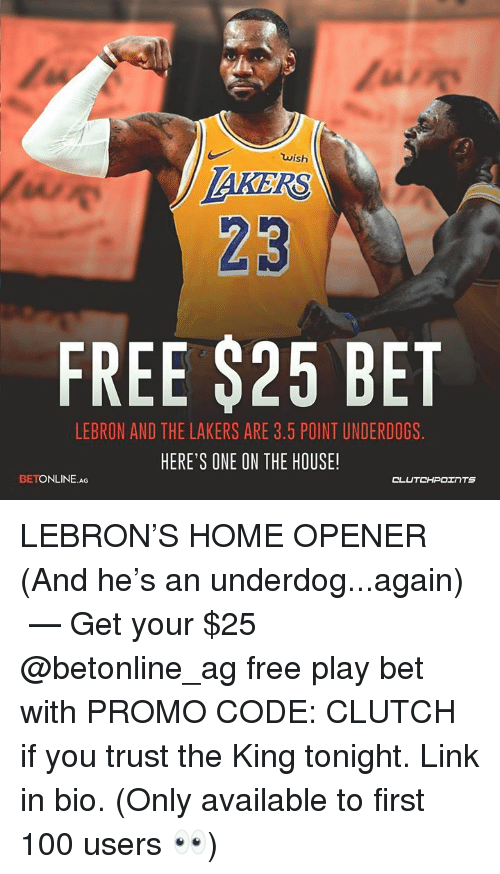 los angeles 18046 6ac21 Wish 23 FREE $25 BET LEBRON AND THE LAKERS ARE 35 POINT ...