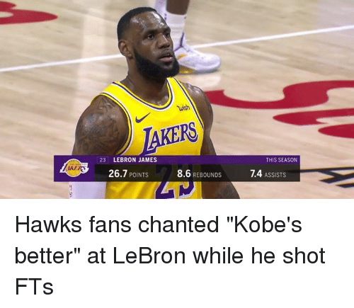 "LeBron James, Hawks, and Lebron: wish  23 LEBRON JAMES  THIS SEASON  AKER  26.7 POINTS  8.6 REBOUNDS  1.4 ASSISTS Hawks fans chanted ""Kobe's better"" at LeBron while he shot FTs"