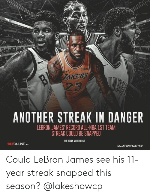 Wish ANOTHER STREAK IN DANGER LEBRON JAMES RECORD ALL-NBA