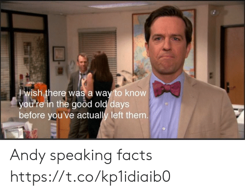 Facts, Good, and Old: wish there was a way to know  you're in the good old days  before you've actually left them. Andy speaking facts https://t.co/kp1idiaib0