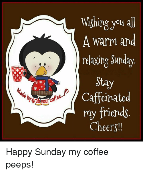 Memes, 🤖, and Cheers: Wishing you all  A warm and  relaxing Sunday  Stay  Caffeinated  my friends  Cheers!! Happy Sunday my coffee peeps!