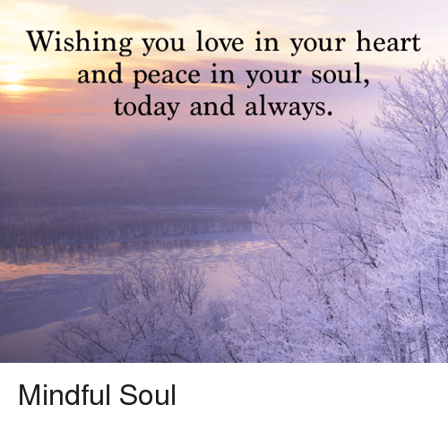 wishing you love in your heart and peace in your soul today and