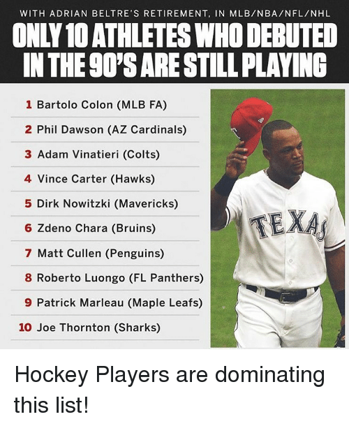 With Adrian Beltre S Retirement In Mlbnbanflnhl Only10 Athletes Who