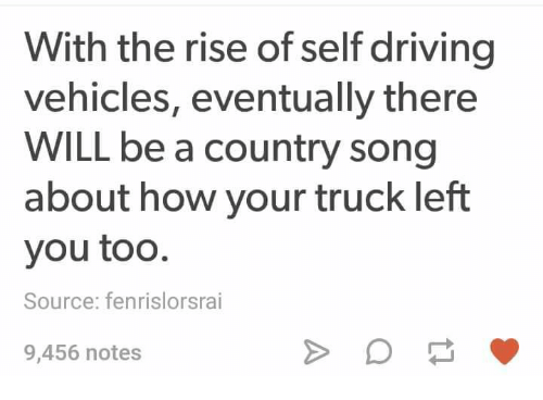 Driving, Memes, and 🤖: With the rise of self driving  vehicles, eventually there  WILL be a country song  about how your truck left  you too.  Source: fenrislorsrai  9,456 notes
