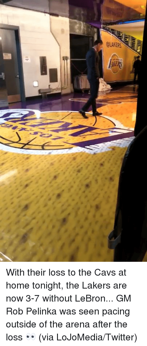 Cavs, Los Angeles Lakers, and Twitter: With their loss to the Cavs at home tonight, the Lakers are now 3-7 without LeBron...  GM Rob Pelinka was seen pacing outside of the arena after the loss 👀 (via LoJoMedia/Twitter)