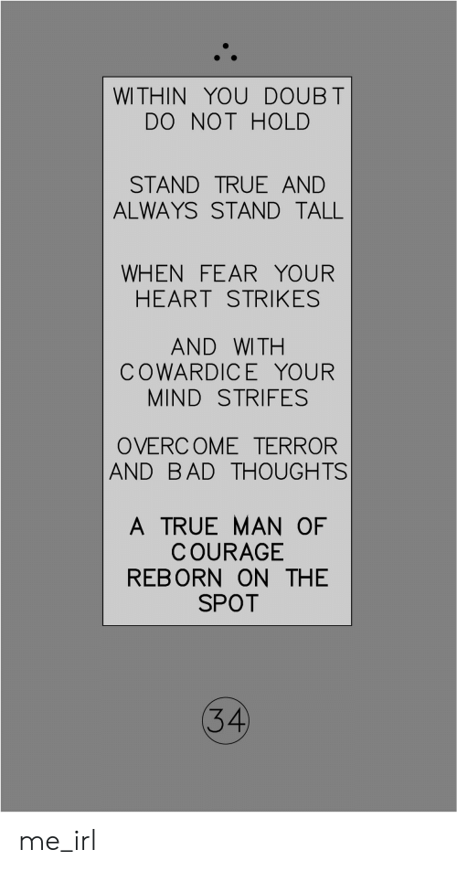Bad, True, and Heart: WITHIN YOU DOUBT  DO NOT HOLD  STAND TRUE AND  ALWAYS STAND TALL  WHEN FEARYOUR  HEART STRIKES  AND WITH  COWARDICE YOUR  MIND STRIFES  OVERCOME TERROR  AND BAD THOUGHTS  A TRUE MAN OF  COURAGE  REBORN ON THE  SPOT  34 me_irl