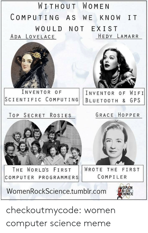 Bluetooth, Meme, and Tumblr: WITHOUT WOMEN  COMPUTING AS WE KNOW IT  WOULD NOT EXIST  ADA LOVELACE  HEDY LAMARR  INVENTOR OF  INVENTOR OF WIFI  SCIENTIFIC COMPUTING BLUETOOTH & GPS  TOP SECRET RosIES  GRACE HOPPER  THE WORLD'S FIRST WROTE THE FIRST  COMPUTER PROGRAMMERS  COMPILER  WomenRockScience.tumblr.com  eNC checkoutmycode:  women computer science meme