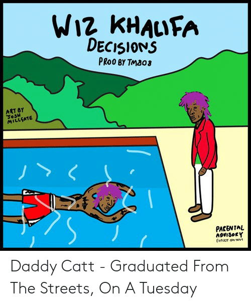 On a Tuesday, Streets, and Wiz Khalifa: WIZ KHALIFA  DECISIONS  PROO BY TMBO3  ART BY  JoSH  MILLSATE  PACENTAL  ADVISORY  ExfuT N Nt Daddy Catt - Graduated From The Streets, On A Tuesday