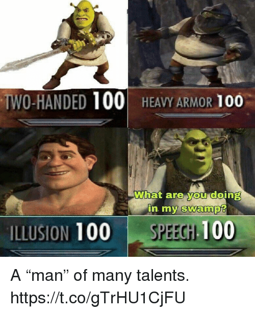 "Anaconda, Video Games, and Armor: WO-HANDED 100 HEAVY ARMOR 100  What are you doing  ILLUSION 100 SPEECHH 100 A ""man"" of many talents. https://t.co/gTrHU1CjFU"