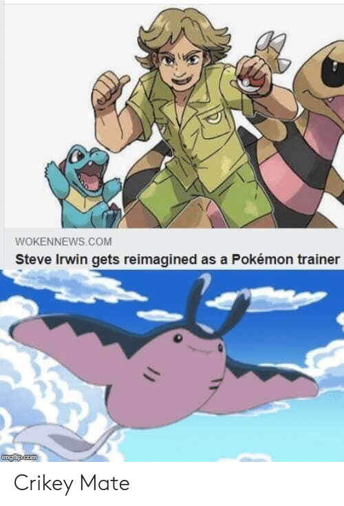 Pokemon, Steve Irwin, and Com: WOKENNEWS.COM  Steve Irwin gets reimagined as a Pokémon trainer  ETgarap.com Crikey Mate