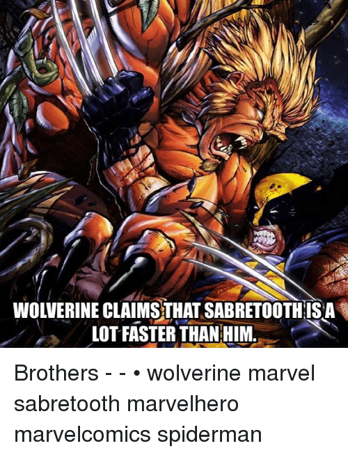 Memes, Wolverine, and Marvel: WOLVERINE CLAIMS THAT SABRETOOTHIS A  LOT FASTER THAN HIM.. Brothers - - • wolverine marvel sabretooth marvelhero marvelcomics spiderman