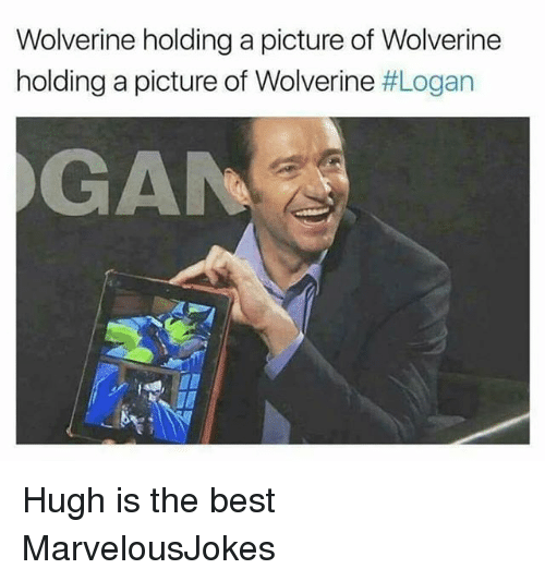Memes, Wolverine, and Best: Wolverine holding a picture of Wolverine  holding a picture of Wolverine #Logan  GAN Hugh is the best MarvelousJokes