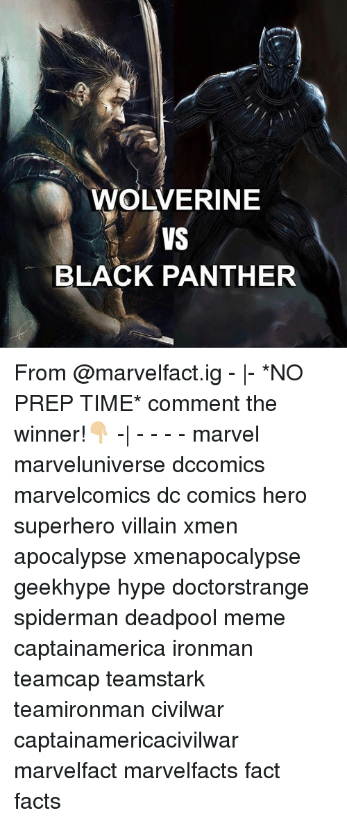 Facts, Hype, and Meme: WOLVERINE  VS  BLACK PANTHER From @marvelfact.ig - |- *NO PREP TIME* comment the winner!👇🏼 -| - - - - marvel marveluniverse dccomics marvelcomics dc comics hero superhero villain xmen apocalypse xmenapocalypse geekhype hype doctorstrange spiderman deadpool meme captainamerica ironman teamcap teamstark teamironman civilwar captainamericacivilwar marvelfact marvelfacts fact facts
