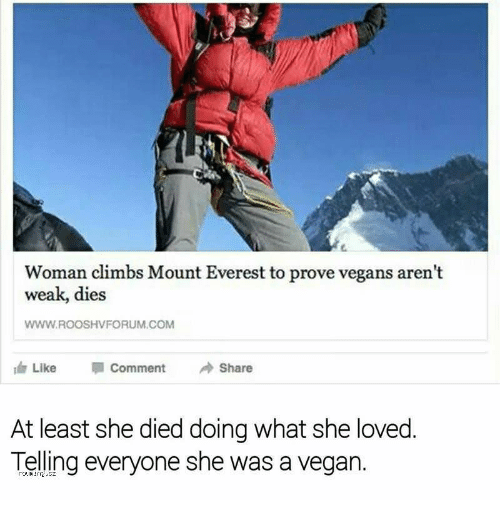 Vegan, Everest, and Com: Woman climbs Mount Everest to prove vegans aren't  weak, dies  WWW.ROOSHVFORUM.COM  Like Comment →Share  At least she died doing what she loved  Telling everyone she was a vegan.