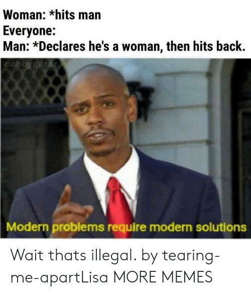 Dank, Memes, and Target: Woman: *hits man  Everyone:  Man: *Declares he's a woman, then hits back.  Modern problems require modern solutions Wait thats illegal. by tearing-me-apartLisa MORE MEMES