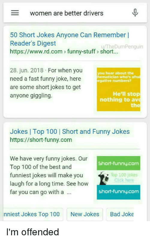 Best Short Anaconda Bad And Funny Women Are Better Drivers 50 Short Jokes Anyone Can Laffgaff Women Are Better Drivers 50 Short Jokes Anyone Can Remember