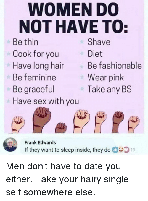 WOMEN DO NOT HAVE TO Be Thin Cook for You Have Long Hair Be