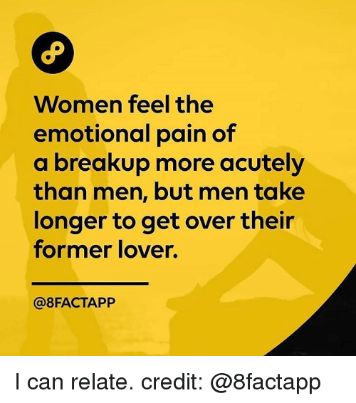 Memes, Women, and Pain: Women feel the  emotional pain of  a breakup more acutely  than men, but men take  longer to get over their  former lover.  @8FACTAPP I can relate. credit: @8factapp