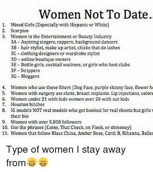 Stay away from women