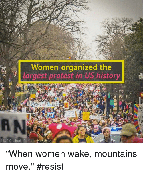 "Memes, 🤖, and Punk: Women organized the  largest protest in US history  d  STRENGTH  MUSIC: Jingle Punks ""When women wake, mountains move."" #resist"