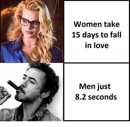 82 seconds for a man to fall in love