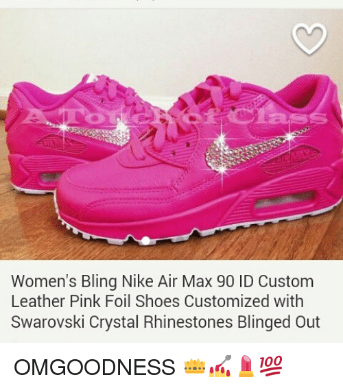 Women s Bling Nike Air Max 90 ID Custom Leather Pink Foil Shoes ... 6e593ef76