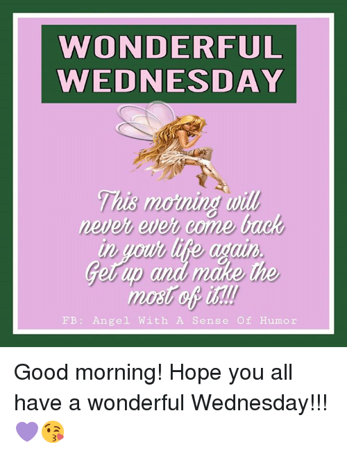 Memes, Good Morning, and Angel: WONDERFUL  WEDNESDAY  This morning wil  This moning will  never ever come back  Lito a  Gerup and make  up  the  mot of ist  FB: Angel With A Sense Of Humor Good morning!  Hope you all have a wonderful Wednesday!!! 💜😘