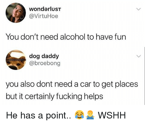 Fucking, Memes, and Wshh: wonderlusT  @VirtuHoe  You don't need alcohol to have fun  dog daddy  @broebong  you also dont need a car to get places  but it certainly fucking helps He has a point.. 😂🤷‍♂️ WSHH