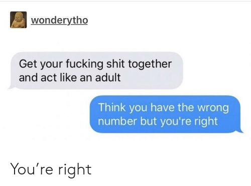Fucking, Shit, and Act: wonderytho  Get your fucking shit together  and act like an adult  Think you have the wrong  number but you're right You're right