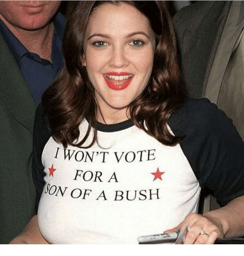 Bush, For, and Vote: WON'T VOTE  FOR A  ON OF A BUSH