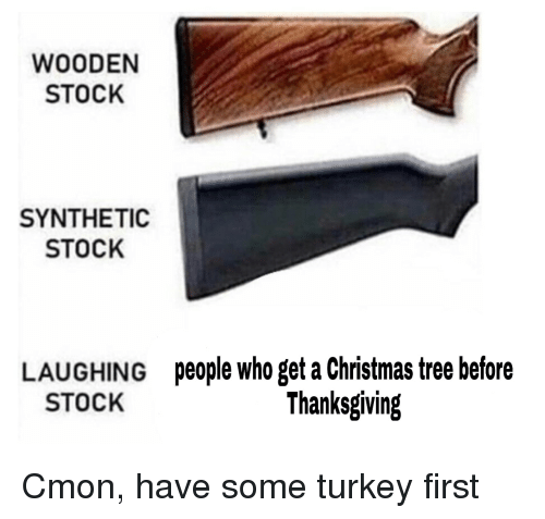 Christmas, Reddit, and Thanksgiving: WOODEN  STOCK  SYNTHETIC  STOCK  LAUGHING  STOCK  people who get a Christmas tree before  Thanksgiving